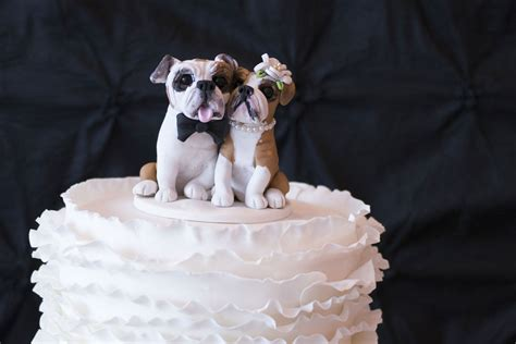 bulldog wedding cake topper sweet table salt lake city 187 black white and blush sweet