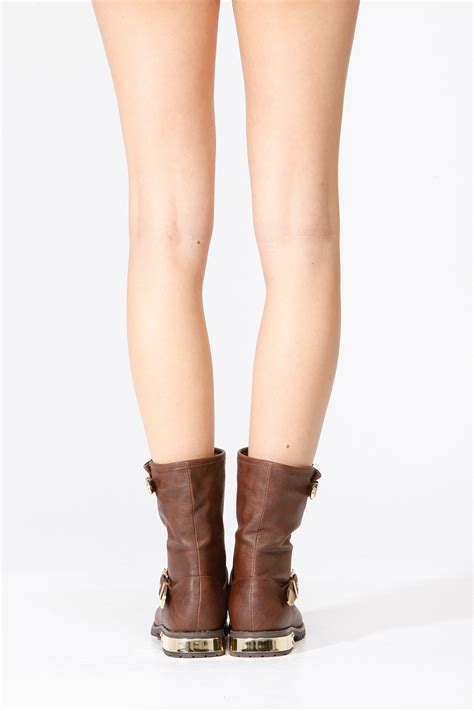 Bamboo Brown Leather Boots bamboo brown gold plated faux leather boots
