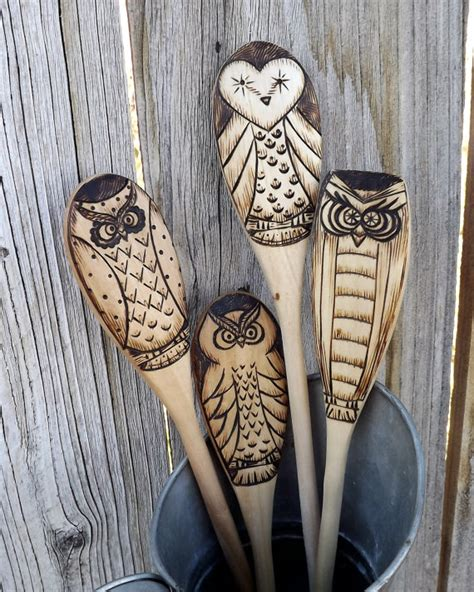 Pyrography Spoons 365 Days Of Crafts Inspiration - owl wood spoons wood burned set of 4 spoon owl and woods
