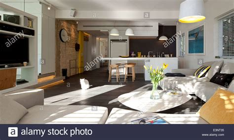 open kitchen living room house plans open plan kitchen and living room in amir navon house israel middle stock photo