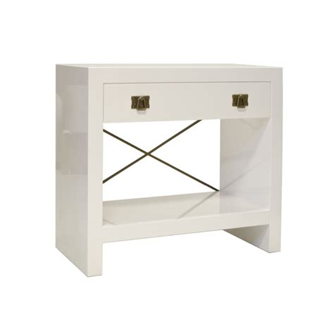 White One Drawer Nightstand Worlds Away White Lacquer One Drawer Nightstand