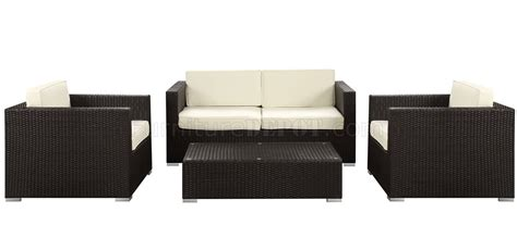 sofa concerts concert patio sofa 4pc set in espresso white by modway