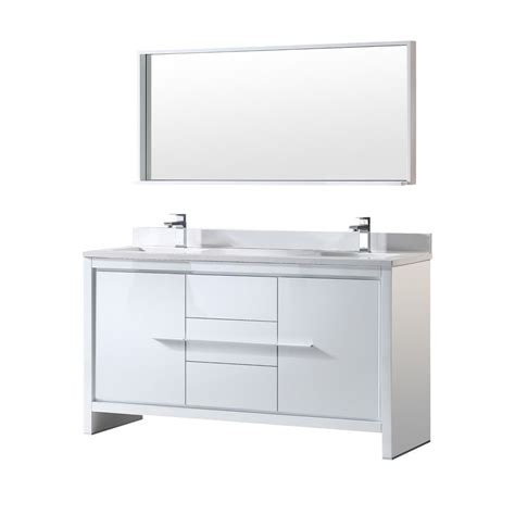 Mirror For 60 Inch Vanity by Fresca Allier 60 Inch W Vanity In White Finish With