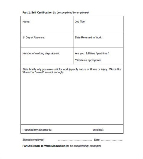 return to work medical form 15 download free documents