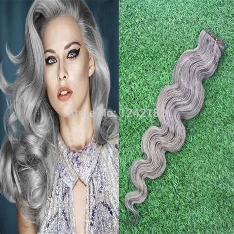 grey human hair extensions grade 6a unprocessed 100 wave silver gray