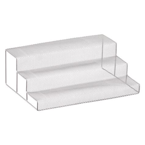 Kitchen Cabinet Shelf Organizers by 3 Tier Silver Mesh Cabinet Organizer The Container Store
