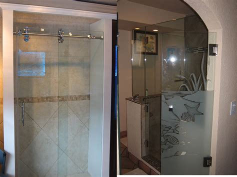 Frosted Glass Shower Door Etched Glass Shower Doors
