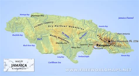 physical map of jamaica jamaica physical map