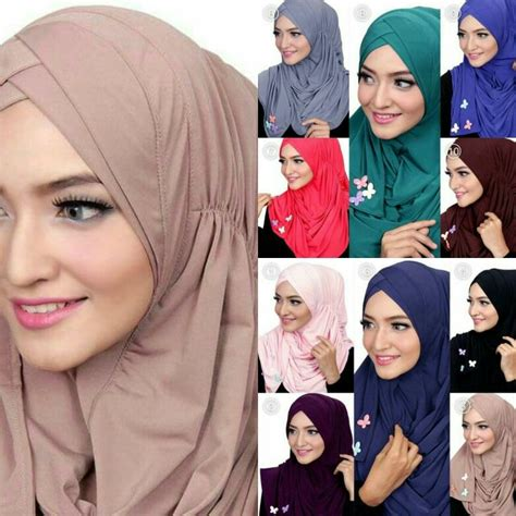 Pashmina Turban Instan Biru Glitter maira slip in instant shawl material jersey easy and comfy to wear suitable for daily casual
