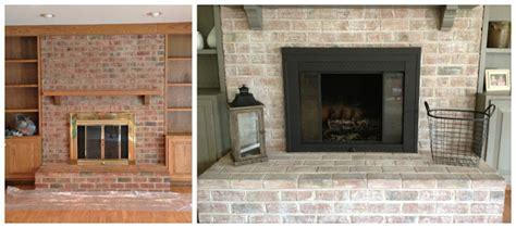 whitewashed brick fireplace brass fireplace update