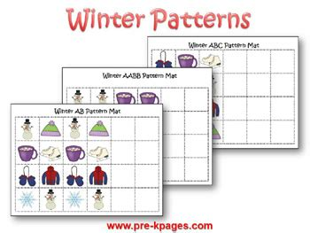 pattern games pre k winter theme activities for preschool