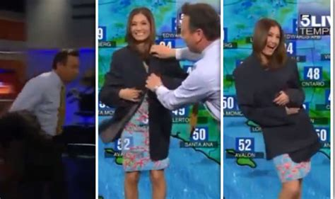 News Anchor Wardrobe by News Anchor Saves Weather After Wardrobe Malfunctiion