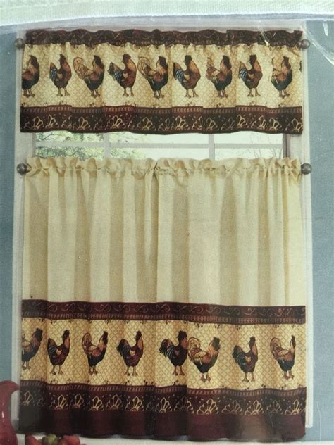 Tuscany Kitchen Curtains Tuscany Rooster Tier Valance Kitchen Curtain Set Country Tuscan New Ebay