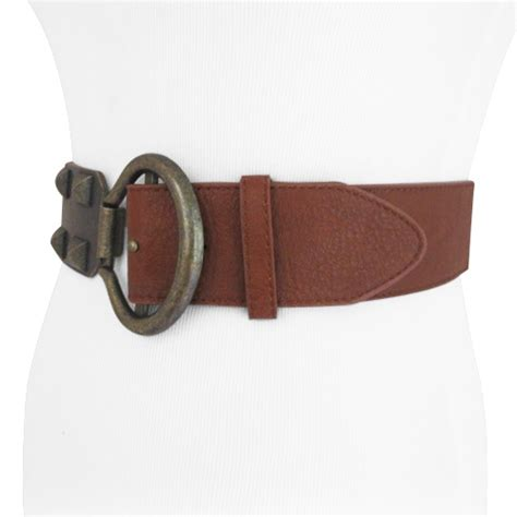 brown studded wide stretch belt for