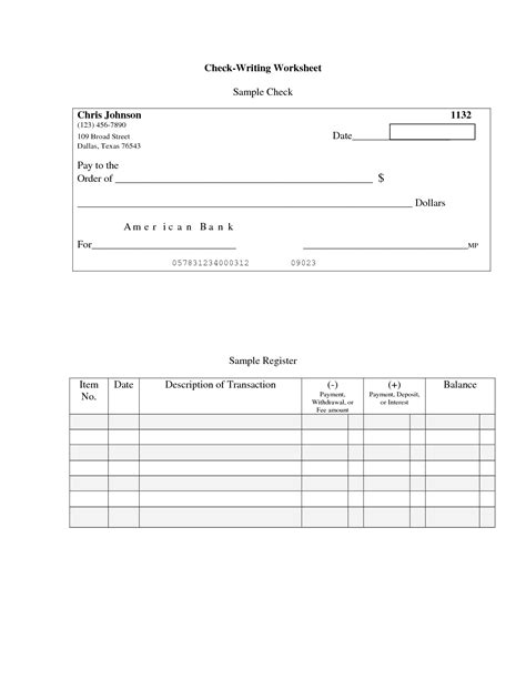 check writing template 16 best images of blank checkbook worksheet blank