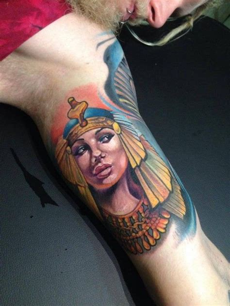 egyptian queen tattoos grey ink on biceps