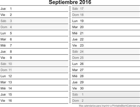 Calendario Sep 2016 Calendario Sep 2016 Para Imprimir Calendarios Para Imprimir