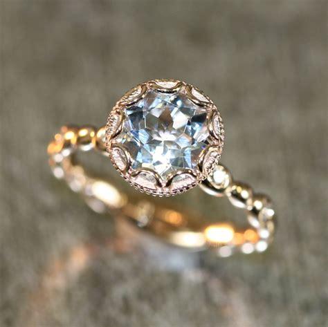 Simple Engagement Ring Cincin Tunangan 2 14k gold floral aquamarine engagement ring in pebble