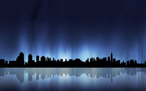 Desktop Ny Led Putar vector city silhouette wallpaper 7674 1920 x 1200