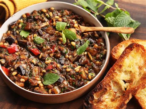 Sho Olive Herbal sicilian eggplant and pine nut caponata recipe serious eats