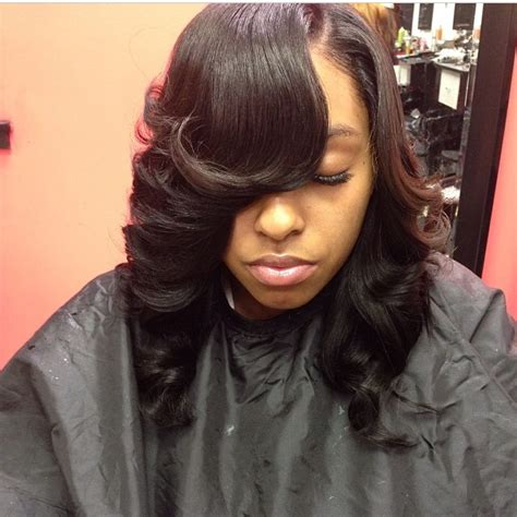 how to sewn in bang hair style on weave bob sew in feathered hair weave slayers 169 pinterest