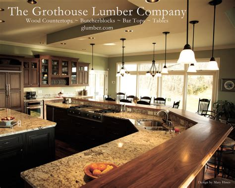 kitchen bar island grothouse walnut wood island bar countertop waterproof durata finish traditional kitchen