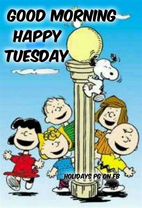 good morning happy tuesday peanuts gangsnoopy charlie sally brown lucy peppermint