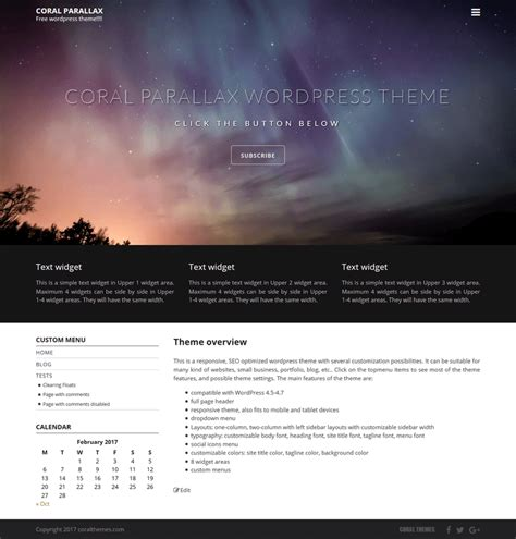 themes wordpress parallax free coral parallax wordpress theme coralthemes