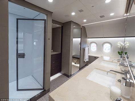 private plane bathroom inside the dreamliner that s been converted into a private