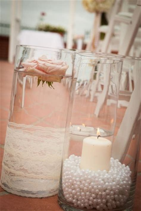 pearl wedding centerpieces lace and pearls themed wedding centerpieces and