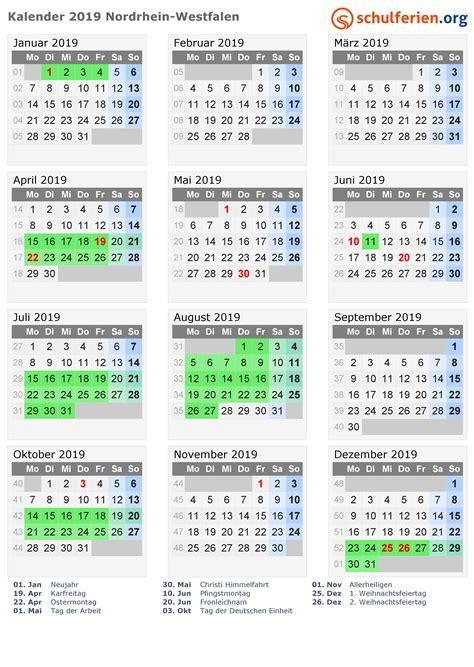 Jahreskalender 2019 Nrw Kalender 2019 Ferien Nordrhein Westfalen Feiertage
