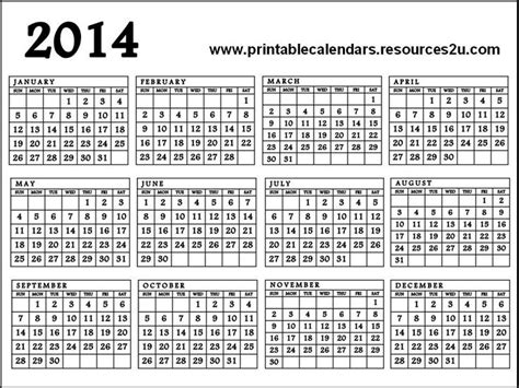 printable calendar year on one page calendar 2014 printable one page free printable calendar