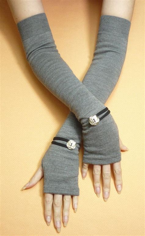 hand tattoo glove cover long grey fingerless gloves with metal buttons boho