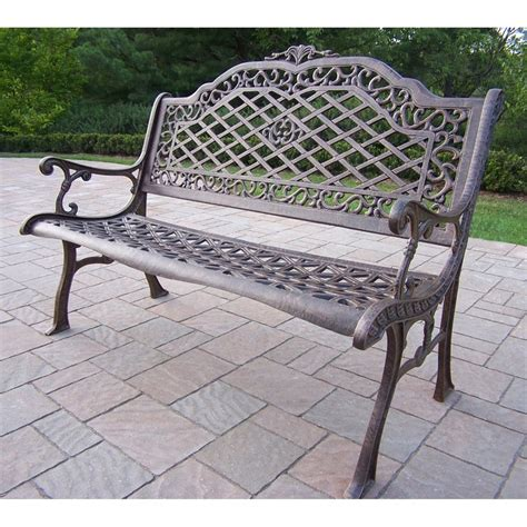 aluminum patio bench shop oakland living 40 in l aluminum patio bench at lowes com
