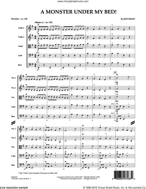 monster under my bed song frizzi a monster under my bed sheet music for orchestra
