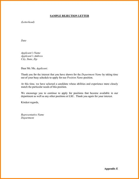Vacancy Decline Letter 16 Rejection Letter Sle To Applicant Ledger Paper