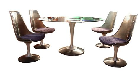chromcraft dining table and chairs oval smoked by