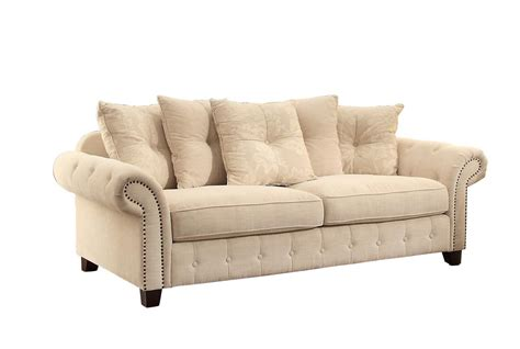polyester sofa homelegance centralia sofa set polyester blend cream