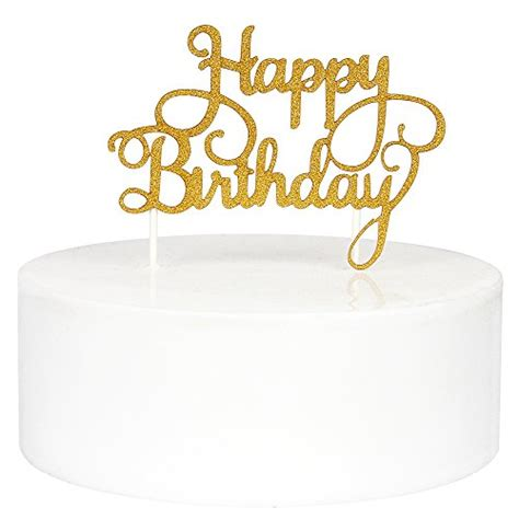 Topper Happy Birthday J innoru happy birthday cake toppers single sided gold