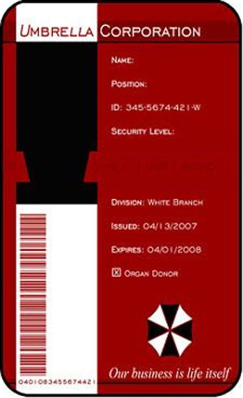 umbrella corporation id card template umbrella corp id comic con costume id