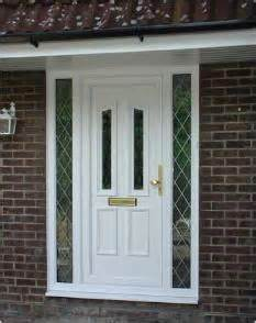 White Upvc Front Door With Side Panel Upvc Residential Panel Doors Cn Glass