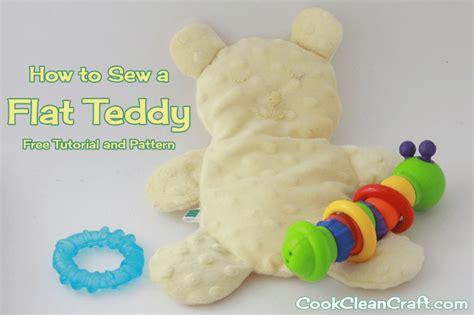 baby shower gift flat teddy tutorial  pattern cook clean craft