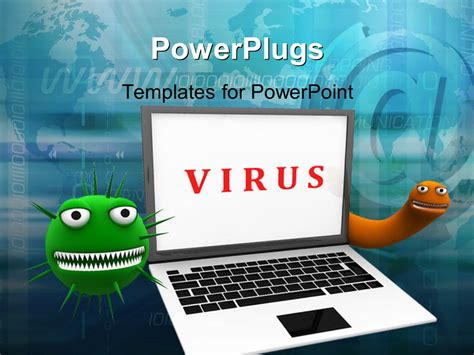 templates powerpoint virus powerpoint template laptop with viruses around on a web