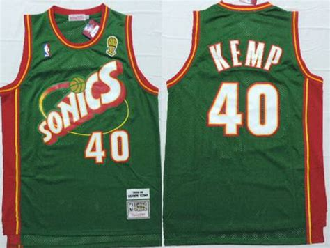 s seattle supersonics 40 shawn kemp 1995 96 green