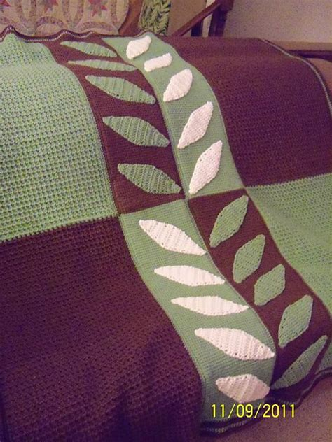crochet leaf pattern afghan modern leaf afghan in tunisian crochet crochet