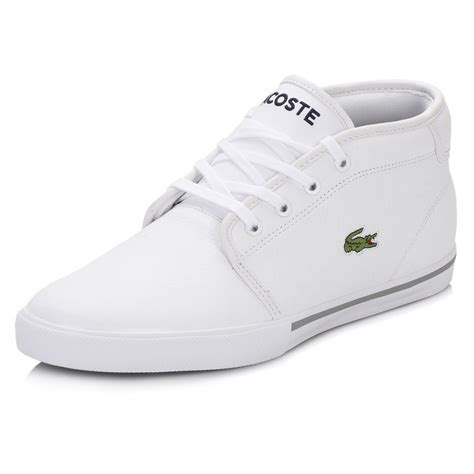 lacoste mens trainers thill black white leather lace up