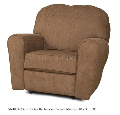 modern rocker recliners mocha fabric elegant modern rocker recliner