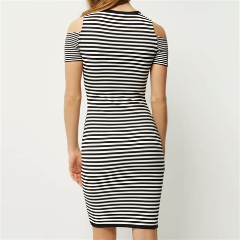 white stripe shoulder dress river island white stripe cold shoulder bodycon dress in