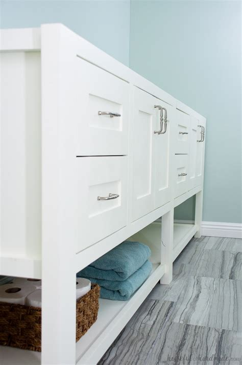 mission style open shelf bathroom vanity build plans