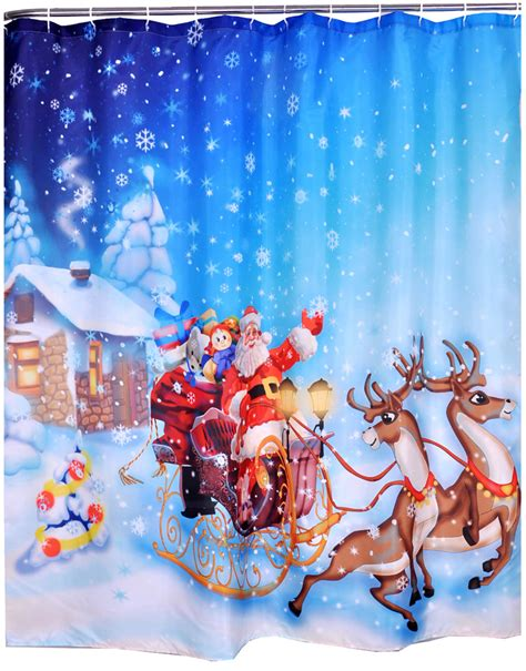 santa curtains christmas santa ride santa claus polyester fabric shower